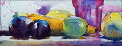 Courgette orange #2 (andremehu) Tags: watercolor watercolour aquarelle acuarela acquarello stilllife stillleben naturemorte fruit vegetable glass
