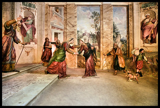 Sanntuario del Sacro  Monte di Varese.  Secondo mistero gaudioso. Seconda  Cappella: Visita di Maria Vergine a Santa Elisabetta.