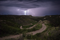 Electric Hills (Erik Johnson Photography) Tags: yellow nebraska lightning storm bluffs hills pine ridge night road winding twisting forest national crawford chadron rural country mountains clouds dramatic