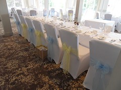 Elcot Park - Light Blue Organza and Lemon Yellow Lace (Beau Events) Tags: butterflybow elcotpark goldyellow highchair lace lightblue organza sashes wedding whitechaircovers