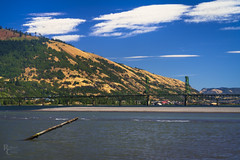 Crossing the Columbia (RobertCross1 (off and on)) Tags: a7rii alpha bingen columbiariver columbiarivergorge emount fe85mmf18 hoodriver ilce7rm2 nationalscenicarea or oregon pacificnorthwest sony wa washington whitesalmon beach bluesky bridge cars clouds fullframe hills landscape mirrorless river sand trees water