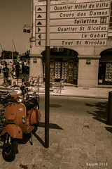 Where's 'St Nicolas'? (ericbaygon) Tags: moto bike orange sign nikon d750 rochelle france