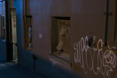 Between Two Buildings (Curtis Gregory Perry) Tags: olympia washington night long exposure alley door window shadow graffiti vandalism blue light nikon d810
