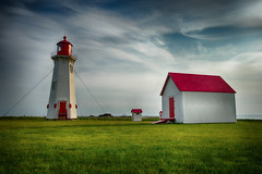 Anse-à-la-Cabane - Lighthouse (SNAPShots by Patrick J. Whitfield) Tags: lighthouses sunset colours contrast life old landscapes buildings red clouds skies sky grass green houses outside lines patterns texture detail dof hdr sunlight summer sun paysage