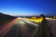 The M6 & M6 Toll, Great Saredon Road, Staffordshire 19/04/2018 (Gary S. Crutchley) Tags: great saredon m6 toll light trail motorway freeway evening sunset uk britain england united kingdom urban nikon d800 nightshot nightphoto nightphotograph image nightimage nightscape night time after dark long exposure travel raw