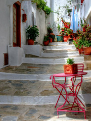 pink table (robin denton) Tags: greekislands greekisland greece greek skopelos townscape oldtown town ville alleyway alley vicolli pink table chair washingline washing steps hdr