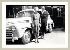 "1947-48 Ford Sedan (Vintage Cars & People) Tags: vintage us usa america vintageusa classic black white ""blackwhite"" sw photo foto photography automobile car cars motor vehicle antique auto woman lady ladies dress floraldress 1940s forties ford 1947ford 1948ford sedan"