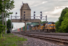 Relics of the North Western (Wheelnrail) Tags: up union pacific uprr ge et44ac emd tier 4 signal signals train trains z intermodal hot important coal tower searchlight geneva subdivision mainline illinois il sky evening midwest