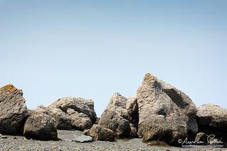 Vue littorale, grosses roches de la Baie du Ha! Ha!