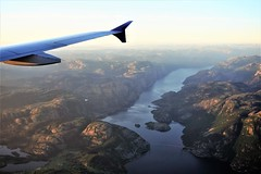 Lysefjord, Norway (Chickenhawk72) Tags: lysefjord norway approach stavanger airport sola fiord window seat wing winglet aircraft bridge aerial view landing sas rogaland