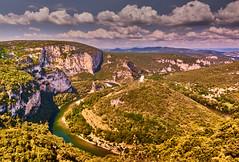 Gorges de l Ardèche (flowerikka) Tags: ardéche canyon centralmassif clouds france frankreich green mountains nature river schlucht sky sun tree valley view landscape