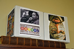 Prays Well With Others (MTSOfan) Tags: mlk community tolerance peace peacemaking boxes book abidingpresencelutheranchurch socialjustice love fear communication interfaithdialog labels muslim stereotypes profiling racism bookshelf bookcase