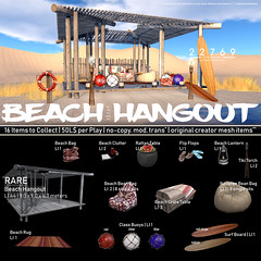 22769 - Beach Hangout at The Gacha Garden : August 2018 2/4 (manuel ormidale) Tags: 22769 bauwerk 2269bauwerk tgg thegachagarden gacha beach summer heat hangout wood woodencabin surfboard board table melon beanbag sitsack lifebelt animations pacopooley buoy outdoor indoor decoration furniture clutter