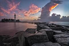 Hillsboro Inlet (MyKeyC) Tags: lighthouse hillsboroinlet sunrise inlet dawn slowshutterspeed lowtide clouds rocks