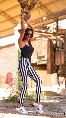 #black #top with #stripped #pants