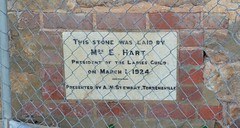 Foundation stone of the Kangarilla Recreation Grounds' pavilion built 1924, South Australia (contemplari1940) Tags: foundation stone kangarilla recreation grounds pavilion aschmidt mrsehart contractor ladies guild