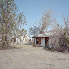 500 channels and nothing on. mojave desert, ca. 2018. (eyetwist) Tags: eyetwistkevinballuff eyetwist abandoned vacant house satellite dish tv television ruin trees dead mojavedesert california film 6x6 mamiya 6mf 50mm kodak portra 160 mamiya6mf mamiya50mmf4l kodakportra160 ishootfilm analog analogue emulsion mamiya6 square mediumformat 120 filmexif icon epsonv750pro lenstagger ishootkodak mojave desert highdesert landscape derelict americana empty broken windows peeling bleak barren dry drought dust clouds apocalypse grapesofwrath steinbeck american west rural faded decay desolate lonely structure building wood americantypologies