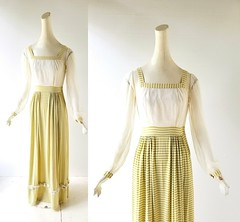 1940s chatreuse striped jersey and chiffon dress (Small Earth Vintage) Tags: smallearthvintage vintagefashion vintageclothing dress gown 1940s 40s maxidress chartreuse ivory striped chiffon ruffles
