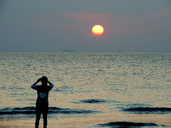 Loneliness (Khaled M. K. HEGAZY) Tags: nikon coolpix p520 malaysia langkawi cenangbeach nature outdoor closeup sea water beach seaside ship sun sunset sky woman silhouette