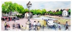 Carcassonne - Canal du Midi - Occitanie - France (guymoll) Tags: googleearthstreetview carcassonne occitanie france panoramique paniramic aquarelle watercolour watercolor aguarela canaldumidi port bateaux boats