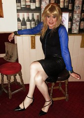 Sat & Legs Crossed (Amber :-)) Tags: black pencil skirt tgirl transvestite crossdressing leather