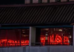 port of san francisco reflections (pbo31) Tags: bayarea california nikon d810 color july summer 2018 boury pbo31 sanfrancisco city urban night dark black ferrybuilding embarcadero portofsanfrancisco red reflection neon sign