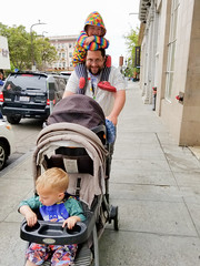 Pushing all the kids (quinn.anya) Tags: andy sam paul toddler preschooler baby stroller father dad downtown