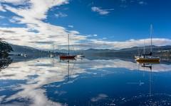 Upon Reflection (jenni 101) Tags: reflections tasmania huonriver boats sigmaart18 photographybyjen landscape water australia peaceful