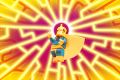 """Behold, The Power of Fate!"" (Andrew Cookston) Tags: lego dc comics doctor dr fate kent nelson anubis magenta yellow blue gold magic editing photoshop custom ugminifigures minifig macro toy still life photography andrew cookston andrewcookston"