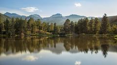 Sprague Lake (Paul Domsten) Tags: mountain spraguelake forest colorado rockymountains nationalpark reflections sky clouds
