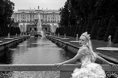Casual dressing, casual place (Javiralv) Tags: stpetersburg russia rusia catherine palace dress princess blackandwhite gardens bride blonde women