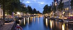 Amsterdam. (alamsterdam) Tags: amsterdam keizersgracht canal longexposure evening reflections boats cars bridge bikes westertoren sky