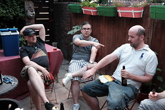 Burnt arm (Gary Kinsman) Tags: garden fujix100t fujifilmx100t london clapton hackney e5 party houseparty flash candid unposed bbq 2018 people person burntarm skin point