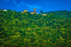Look at the colors!  A glimpse of beautiful hills and castles along the eurvelo6 bike route in Austria.
