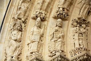 Saint-Denis Paris France : Détail du portail central de la basilique Saint-Rémi, Detail of the central portal of the basilica Saint Rémi, Detail des zentralen Portals der Basilika Saint-Rémi.