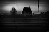 solitude (*altglas*) Tags: bw railway rails eisenbahn gleise einsamkeit solitude haus house home dark black abend dusk dämmerung twilight unterwegs traveling