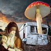 Untitled (Flamenco Sun) Tags: sunset mask bizarre wrecked caravan odd surreal weird toadstool mushroom