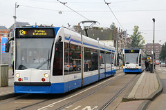 2058, Museumplein, Amsterdam, October 19th 2015 (Southsea_Matt) Tags: 2058 route12 museumplein amsterdam thenetherlands holland autumn 2015 october canon 60d sigma 1850mm gvb siemens combino tram lightrail publictransport passengertravel vehicle railway train railroad