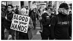 BLOOD on your HANDS (gro57074@bigpond.net.au) Tags: demonstrations demonstrators protesters cbd sydney police teachersforrefugees bw monochrome blackandwhite 21july2018 march protest 50mmf14 artseries sigma d850 nikon bloodonyourhands manusisland asylumseekers refugees