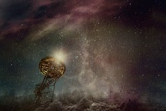 Once upon a night (Just Add Light) Tags: stars night clouds fog tower milkyway forest gnas