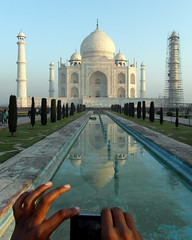 taj mahal reflected (1) (kexi) Tags: agra india asia uttarpradesh tajmahal vertical tomb love monument mughal hands pair reflected reflection water white blue photo photographer famous samsung wb690 february 2017 perspective composition dissymmetry