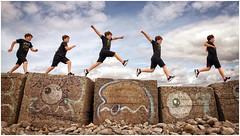 Fun Run (tina777) Tags: fun run defence wall wwii graffiti boulder pebbles beach sky clouds limpert bay gileston vale glamorgan wales coastal path photoshopelements onone software
