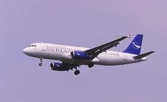 Berlin SXF 2002 Syrian Airbus A-320 (rieblinga) Tags: berlin schönefeld sxf flughafen airbus a320 syrian air 2002analog canon eos 1 v kodak ebk 100 diafilm