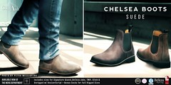 COLD ASH - NEW RELEASE! CHELSEA BOOTS - SUEDE - @ TMD AUGUST (coldashsl) Tags: sl menswear mens mesh clothing fashion male shop coldash cold ash tmd department project themeshproject signature gianni fittedmesh fitmesh belleza jake slink boot boots chelsea footwear shoes