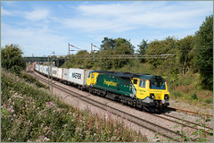 Still the Green Team (Resilient741) Tags: 70003 class 70 powerhaul loco locomotive diesel general electric ge flim freightliner intermodal container train freight wcml west coast main line dutton weaver jnc junction uk united kingdom chesire railway railroad