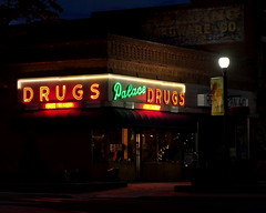 The Palace Drug at Night (Rusty Irons) Tags: colorado drug store outdoors neon sign night shot ghost old small town