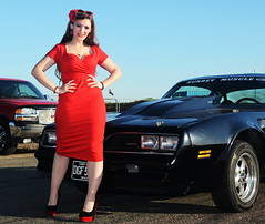 Holly_9182 (Fast an' Bulbous) Tags: classic american car pontiac trans am muscle girl woman hot sexy pinup model red wiggle dress high heels stockings nylons long brunette hair people outdoor