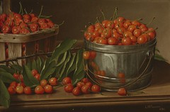 Cherries in Bucket (Still Life with Cherries and Pail) (1890) (Animus Mirabilis) Tags: american painting art leviwellsprentice 19thcentury stilllife cherry bucket pail basket branch leaf fruit