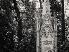 20180518-0104-Edit (www.cjo.info) Tags: 19thcentury 19thcenturyneogothic bw christianity england europe europeanunion highgate highgatecemetery highgatecemeterywest london m43 magnificent7 magnificentseven magnificentsevengardencemeteries microfourthirds nikcollection olympus olympuspenfgzuikoautos40mmf14 olympuspenf penfmount silverefexpro silverefexpro2 unitedkingdom victoriangothic westerneurope architecture blackwhite blackandwhite carving cemetery churchcathedral classiclens death decay digital flora gothic gothicrevival gravegraveyard legacylens manualfocus monochrome overgrown plant religion religiousbuilding spire stone stonework tree victorian wood wooded