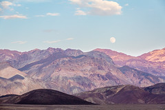 Full Moon over Artists Palette (Chuck - PhotosbyMCH.com) Tags: photosbymch landscape fullmoon sunset desert artistspalette furnacecreek deathvalley deathvalleynationalpark amargosarange paintedrock nationalpark travel summer outdoors usa 2017 california